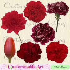 Red Flower Clipart Digital Clip Art Images Burgundy