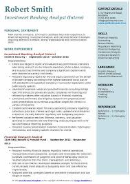 Investment Banking Analyst Intern Resume Model