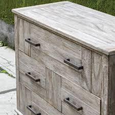 Skipper Coastal Beach Rustic Light Wash Wood 3 Drawer Dresser