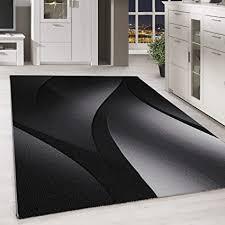 homebyhome kurzflor design teppich schatten muster wohnzimmer teppich grau schwarz meliert farbe schwarz grösse 160x230 cm