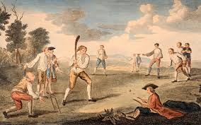 Vintage Illustration Featuring An 18th Century Game Of Cricket