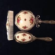 Vintage Vanity Dresser Set by Rare Vintage Royal Doulton By Godinger Mirror Brush Comb Dresser