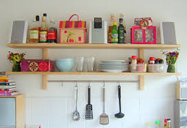 Wall Mounted Varnished Oak Wood Shelves With Holder