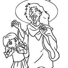 Sorceress And Skeleton Laugh Witch Laughing With Kids Coloring Page