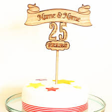 Personalized Custom Wooden Wedding Anniversary Cake Topper 25th 50th Party Table Rustic Decoration