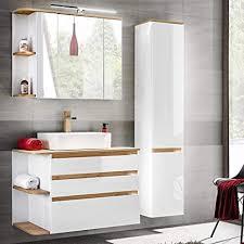lomadox badmöbel set hochglanz weiß mit eiche waschtisch