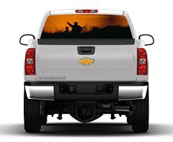 100 Truck Window Decal Father And Son Hunting Scene Rear Graphic Nostalgia