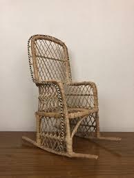 Mini Wicker Rocking Chair Boho Plant Stand Decor Rattan ...
