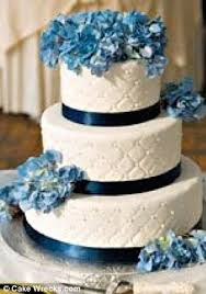 Instead of an elegant three tiered white wedding cake decorated with blue flowers this couple received a two tier cake with huge black stripes and clashing
