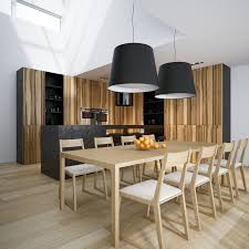 Modern Minimalist Dining Room Decors With Two Drum Shade Hanging Lamps Over Pine Table Set As Well White Plafond Loft Ideas Decorate In