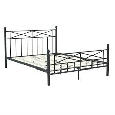 queen size matte black metal platform bed frame with headboard