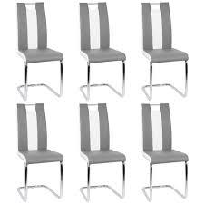 6er set esszimmerstühle freischwinger stühle bow esstischstuhl küche küchenstuhl barstuhl hochlehner sitzgruppe kunstleder weiß grau