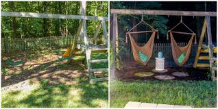 How To Make A DIY Grown-Up Swing Set - How To Transform A Kid's ... Freestanding Aframe Swing Set 8 Steps With Pictures He Got Bored With His Backyard So Tore It Down And Pergola Canopy Fniture Free Pergola Plans You Can Diy How To Build A Arbor Howtos Diy Nearly Handmade Building Stairs For The Club House To A Fort Outdoor Goods Simpleeasycheap Porbench 2x4s Youtube Discovery Weston Cedar Walmartcom Combination Playhouse And Climbing Wall How Porch Made From Pallets Simple Ideas All Home For Tim Remodelaholic Tutorial An Amazing Firepit