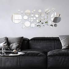 decalmile 32 stück 3d spiegelfliesen wandaufkleber diy spiegel aufkleber schlafzimmer wohnzimmer badezimmer dekoration runden silber