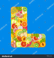 Letter L Made Tropical Fruits Stock Vector Shutterstock