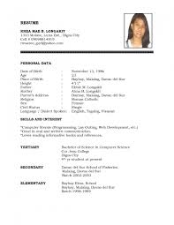 Simple Filipino Resume Format