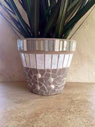 Rustic Mosaic Planter Large Flower Pot Indoor Herb Outdoor Garden Kitchen Handmade Terracotta Deck Container