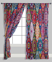 Geometric Pattern Sheer Curtains by Red U0026 Purple Geometric Curtain Panel Set Of Two Home