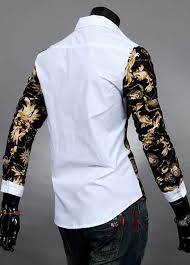 mens splice printing slim fit long sleeve button front top casual