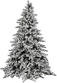 AMERIQUE Greenland Premium Hinged Artificial Snowy Pine Christmas Tree With Metal Stand Flocked Snow
