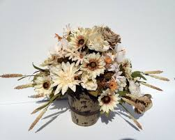 Fall Floral Arrangement Flowers Cream Dahlias Green Roses Rustic Looking Wood Bucket Flower Decor