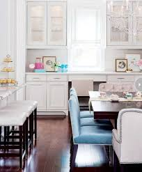 White Kitchen Decorating With Turquoise Blue Chairs And Small Accessories