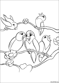 Coloring Page Birds On Tree