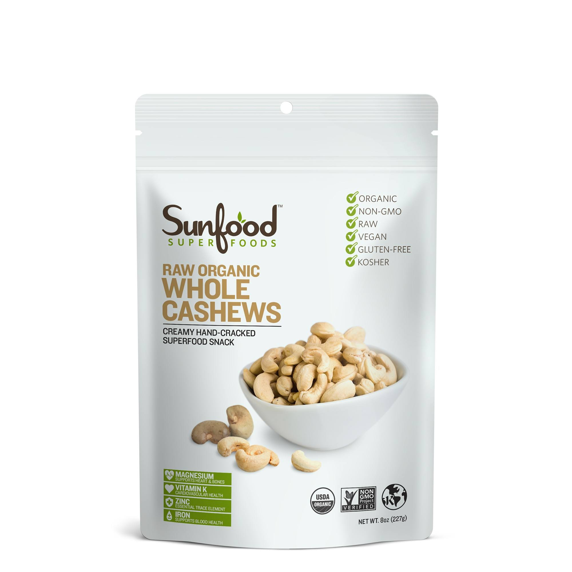 Sunfood Raw Organic Whole Cashews 8 oz