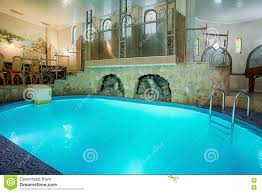 100 Interior Swimming Pool Blue In Modern Spa Stock Photo
