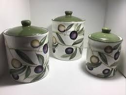 Ceramic Kitchen Canister Sets Pier 1 One Imports Ceramic Kitchen Canister Set Small Green Olives Earthenware Ebay