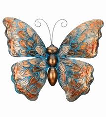 Butterfly Outdoor Wall Decor Copper Patina Art Metal Hanging