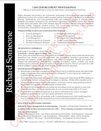 Law Enforcement Professional Resume Sample Or Example