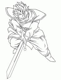Gohan With Zeta Sword In Dragon Ball Z Printable Coloring Page