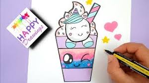 How To Draw A Cute Unicorn Drink Starbuck Easy Step By Ste