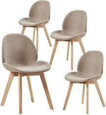 hj wedoo 4x esszimmerstühle skandinavisch küchenstuhl polsterstuhl mit blatt design stuhl küchenstuhl stoff leinen holz grau