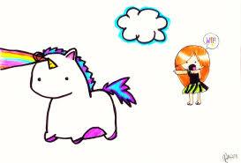 Cartoon Rainbow Unicorn The