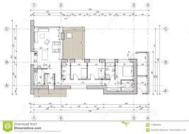 100 Modern Architecture House Floor Plans Drawing Plan Of The Single Family Stock Vector