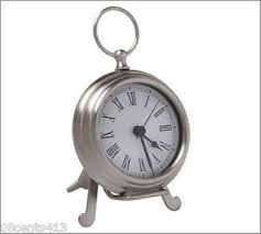 Pottery Barn Small Battery Operated Pewter Tone Pocket Watch Clock