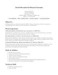 Dental Assistant Resume Samples Examples For Receptionist Jobs Job Description Entry