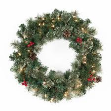 Artificial Pre Lit Douglas Fir Christmas Tree by Classic Pine 9 Ft Pre Lit Garland With Berries And Pine Cones