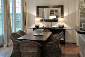 Mirrored Dining Room Buffet Decorating Ideas With Simple Rectangle Framed