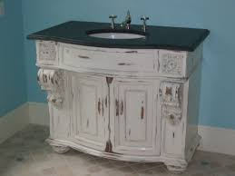 furniture grey wooden shabby bathroom vanity with round white