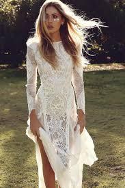 Ivory Sheer Long Sleeve Boat Neckline Elegant Lace Rustic Bridal Dress