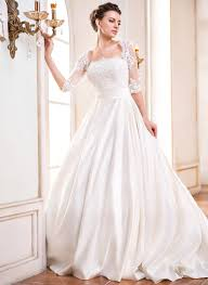 ball gown square neckline court train satin wedding dress with