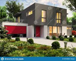 100 Housedesign Modern House Design And Large Garage For A Cars Stock Photo