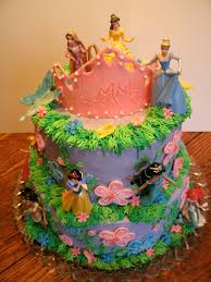 Disney Princesses 2nd Birthday cake All buttercream with candy