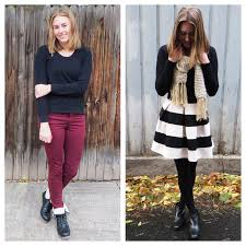 Look 1 Sweater Skinny Pants Combat Boots 2 Skirt Ankle
