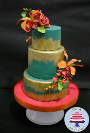 Rustic Teal Gold Wedding Cake