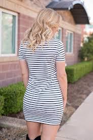 piko short sleeve fitted tunic black white stripe lush fashion