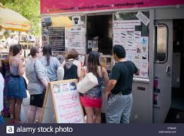 100 Coolhaus Food Truck Customers Queue Up For Ice Cream From The Popular Ice Cream